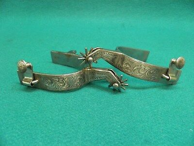 Nice Good  Pair Of  Silver  Mounted  Western Cowboy Spurs