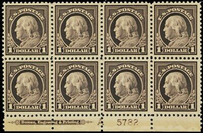 518, Mint NH VF-XF $1 Plate Block of Eight Stamps Cat $2,290.00 - Stuart Katz
