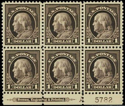 518, Mint XF NH $1 Plate Block of Six Stamps Cat $2,100.00 - Stuart Katz