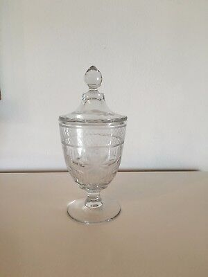 Beautifully Etched Glass Apothecary Candy Jar