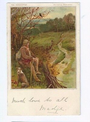 Postcard The Woodcutter Fred Hines Artist Signed Battle cancel 1903 Undivided