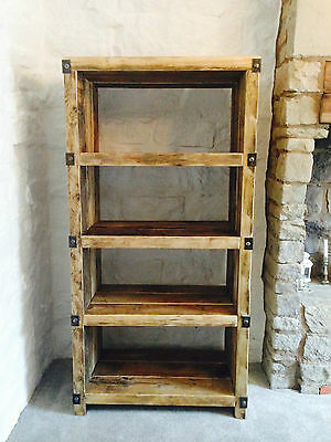 Industrial Style Reclaimed Wood and Metal Shelving Unit