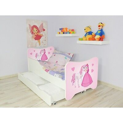 Children Bed Happy, Bed For Girls Kids with mattress 160x80cm + drawer + Pillow