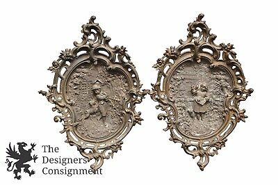 2 Antique Bas French Rococo High Relief Bronze Wall Plaques Boy & Girl Dog Cat