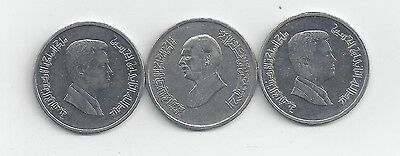 3 DIFFERENT 5 PIASTRE COINS from JORDAN (1998, 2006 & 2009)