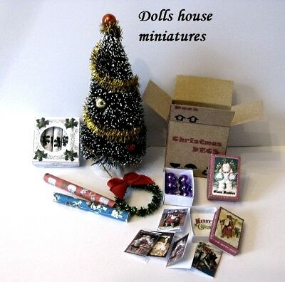 Christmas Tree  And Box Of Baubles  Dolls House Miniatures