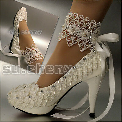 5f5838b2bb42 su.cheny Flats two types lace ribbon ankle pumps Wedding Bridal pump heels  shoes