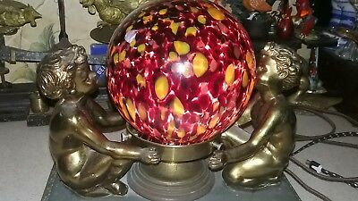 VTG ART DECO cherubs LAMP END OF THE DAY GLASS SHADE CHANDELIER FIXTURE
