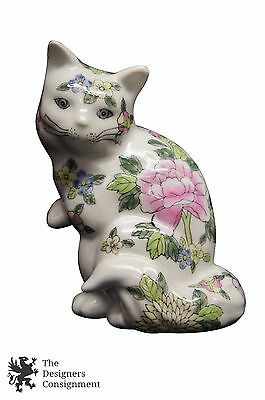 """20th Century Chinese Export Porcelain Cat Figurine White Floral Hand Painted 8"""""""