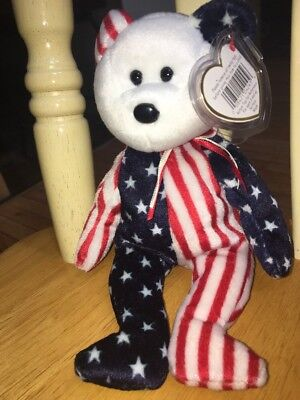 New Ty Beanie Baby SPANGLE Red White & Blue Bear