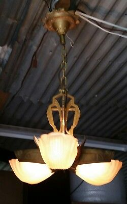 Antique Art Deco Slip Shade Ceiling Light Fixture Chandelier   3 Shades Markel