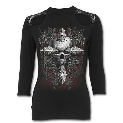 Spiral Direct CROSS OF DARKNESS Lace Shoulder 3/4 Sleeve/Cross/Goth/Dark/Top