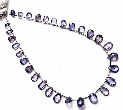 """Natural Gem Iolite Faceted Pear Shape Briolette Beads 10"""" Strand Water Sapphire"""