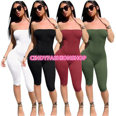 Women Summer Sexy Strapless Off Shoulder Body con Play suit Jumpsuit Out Fits