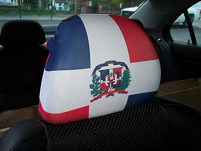 Dominican Republic Car/Auto Headrest Flags/Covers (Pair)