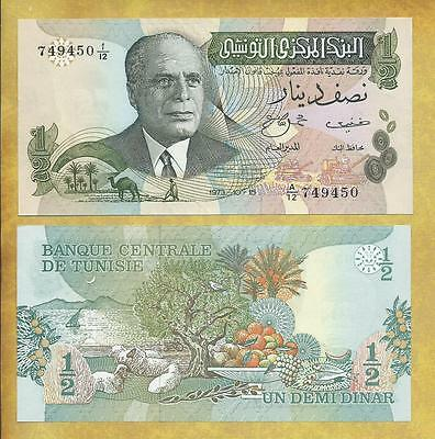 Tunisia 1/2 Dinar 1973 Unc Currency Note P-69a ***USA SELLER***