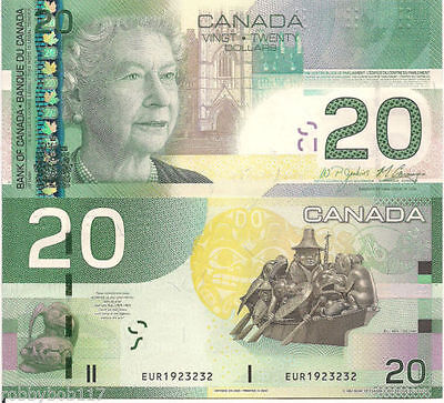 1 new Bank of Canada $20 Uncirculated Note, Canadian Bill Paper Money, Year 2006
