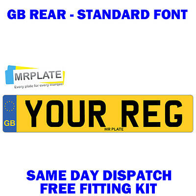 GB Rear Number Plate Standard 100% MOT Compliant -FREE Fitting Kit - Car Licence