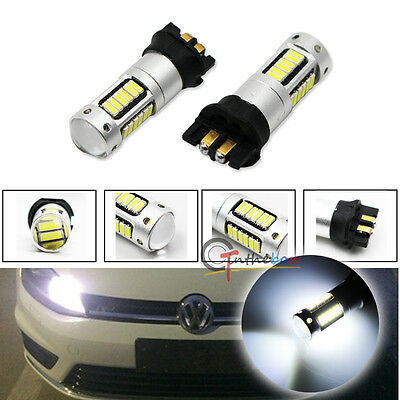 2x White 30-SMD PW24W PWY24W LED Bulbs For Audi BMW VW Turn Signal or DRL Lights