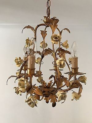 Italian Gilt Florentine Birdcage Porcelain Roses Gold leaves Chandelier Lamp