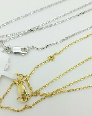 18k Solid Yellow White Gold Diamond Cut Cable Link 1mm Necklace Pendant Chain