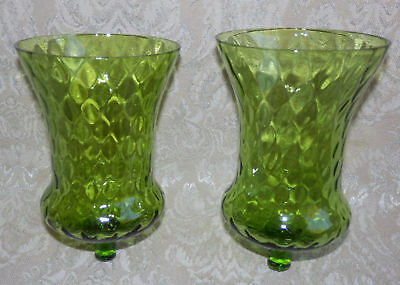 "2 Home Interior Green Diamond Glass Votive Cup Sconce Candle Holders 5"" Tall"