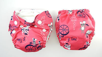NEW 1 x THX Cloth Diaper All in one (AIO) fit Newborn - 13 lbs. Mice in Paris