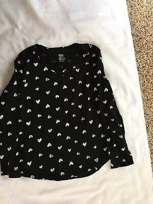 Old Navy Girl's Size 6-7 Long Sleeve Shirt-Black with White Hearts