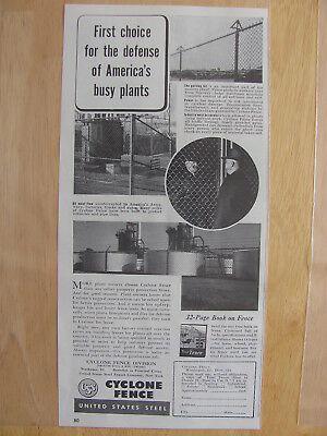 1942 WWII ERA Cyclone Fence Print AD First Choice For Defense
