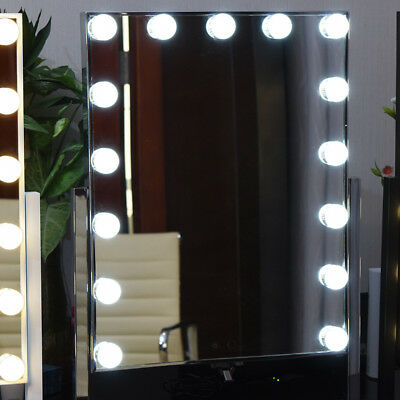 15 Led Bulb Large Hollywood Vanity Makeup Mirror With Light Stand Table Lamp