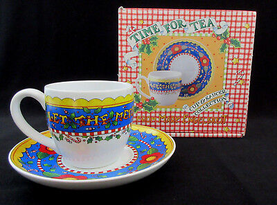 Mary Engelbreit Christmas TIME FOR TEA Cup Saucer Let the Merrymaking Begin NIB