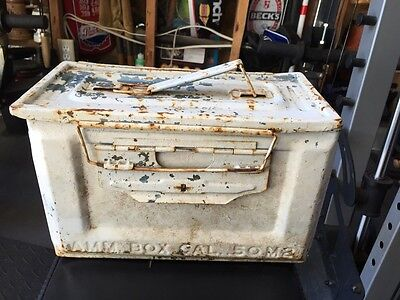 Vintage Wwii 50 Cal M2 Metal Ammo Ammunition Can Box Militaria