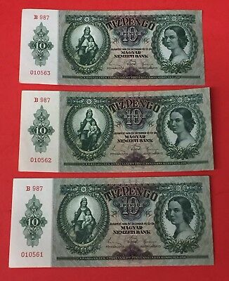 (3 Conservative Notes) 1936 Hungry Tiz 10 Prengo Note Bill Currency P.100 TCC