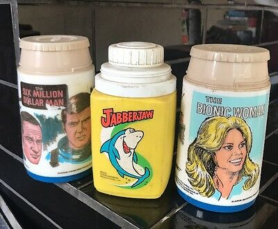 Set Of 3 Thermos Drink Flasks The Bionic Woman Jabberjaw Six Million Dollar Man