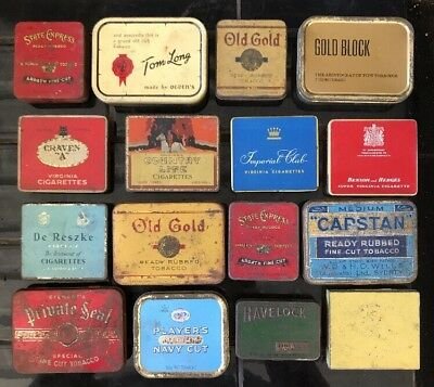 Set Of 16 X Vintage Tobacco Tins Craven Capstan Country Life State Express etc..