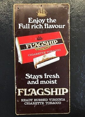 FLAGSHIP TOBACCO Vintage Cigarettes Screen Printed Tin Shop Display Sign