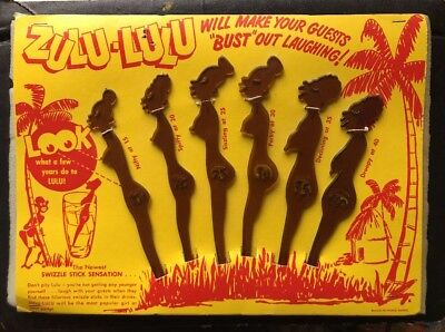 ZULU-LULU Retro Bar Accessories Swizzle Sticks Mancave Vintage Cocktail Kitch