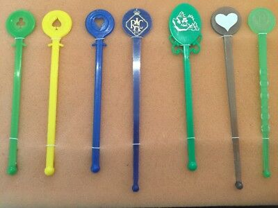 7 ASSORTED Retro Swizzle Sticks Mancave Vintage Cocktail Bar accessories