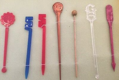 7 RARE Retro Swizzle Sticks Mancave Vintage Cocktail Bar accessories