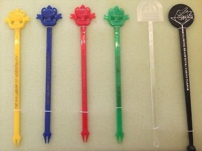 6 ASSORTED Retro Swizzle Sticks Mancave Vintage Cocktail Bar accessories