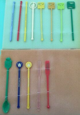 13 ASSORTED 70s CRUISE SHIP SWIZZLE STICKS Vintage Cocktail Bar accessories
