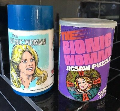 THE BIONIC WOMAN Vintage Jigsaw Puzzle & Aladdin Thermos Collectors Set