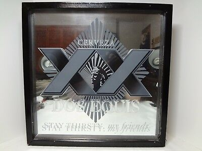 """Dos Equis XX Imported Beer Bar Mirror Sign Square Light Up Stay Thirsty 18""""x18'"""