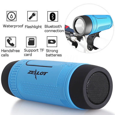Zealot S1 Portable Outdoor Bicycle Bluetooth Speaker Power Bank LED light Mount
