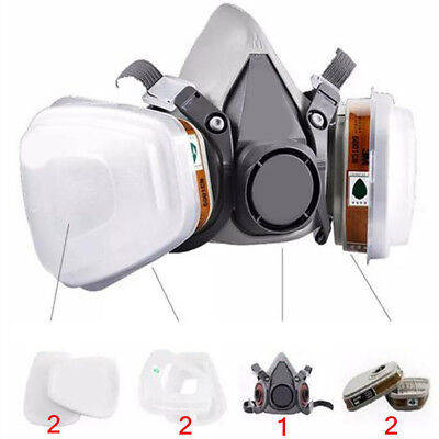 Set 7 In 1 6200 Gas Half Face Mask Spray Painting Protection Respirator Fabulous