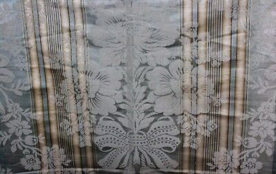 Antique French 19thC Silk Damask Emberline Home Dec Fabric Ice Blue Yellow