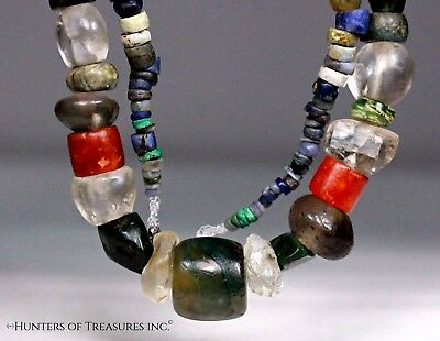 Ancient Pre Columbian Moche or Chimu Rock Crystal Quartz & Gems Stone Beads