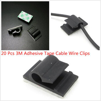 20 Pcs Black 3M Adhesive Clips Fixed Car Cable Drop Wire Holder Wall Wire Lines