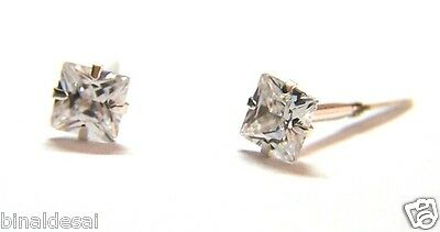 925 Sterling Silver ANDRALOK Small 4mm Princess Cut Square Clear White CZ Studs