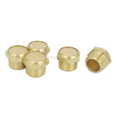 3/8BSP Thread Brass Pneumatic Air Exhaust Noise Reducing Silencer Muffler 5pcs